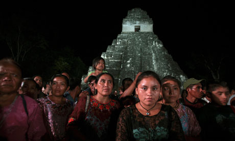 Modern Maya people at the Tikal site in Guatemala for festival.